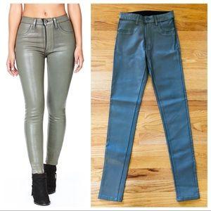 $232 LF Carmar Taupe Wax Coated Skinny Jeans NWT
